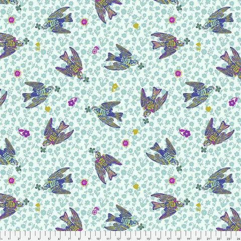 Fabric Free Spirit Woodland Walk by Nathalie Lete - The Swallows in Azure