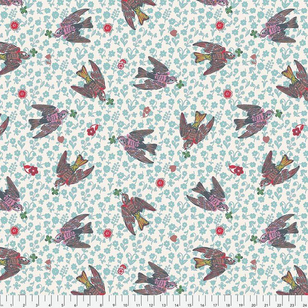 Fabric Free Spirit Woodland Walk by Nathalie Lete - The Swallows in Rose