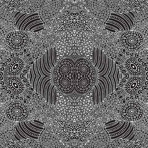 Fabric M&S Textiles Aboriginal Designs - Water Hole in Black by Anna Pitjara