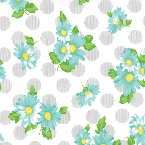 Fabric Moda Sew & Sew by Chloe's Closet - Floral Doopsy Daisey in Cloudy Sky