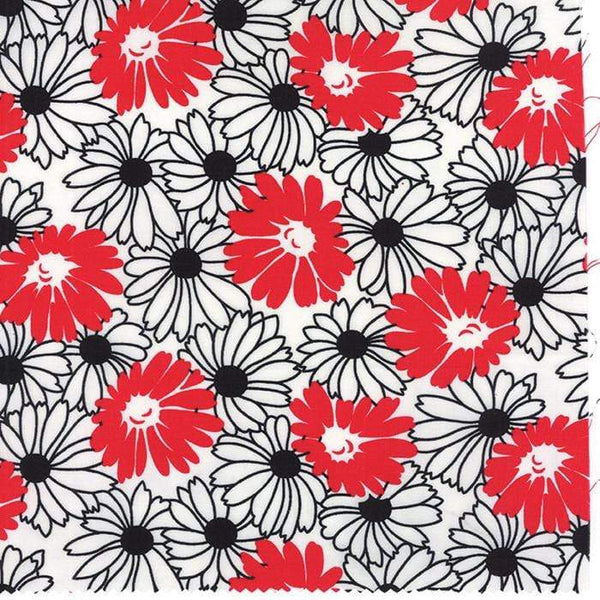 Fabric Moda Weeds by Me & My Sister - Flower in Red and Black on White