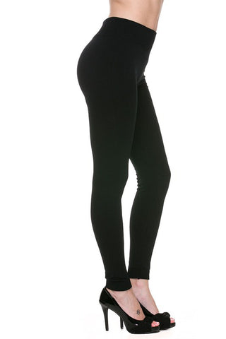 Black Fleece Lined Leggings- Plus