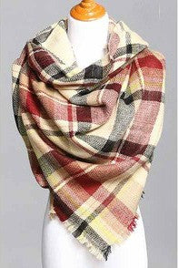 Blanket Scarf- Navy, Burgundy, Taupe, Yellow