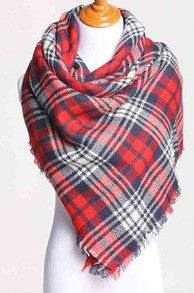 Blanket Scarf- Red, White, Navy