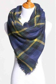 Blanket Scarf- Navy, Hunter Green, Yellow