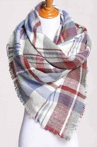 Blanket Scarf- Burgundy, Grey, Blue, White