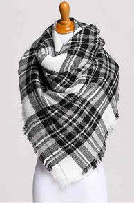 Blanket Scarf- Black & White Check