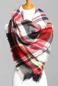 Blanket Scarf- Red, Navy, Yellow