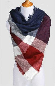 Blanket Scarf- Red, White & Blue