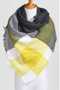 Blanket Scarf- Yellow, Grey & White