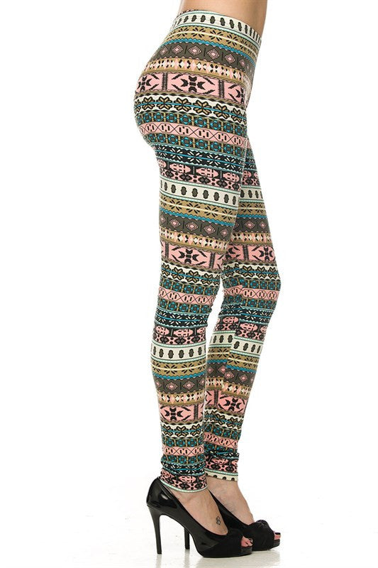 Dreaming in Pink Aztec Leggings- Plus