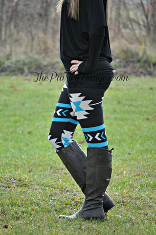 Blue Aztec Legging