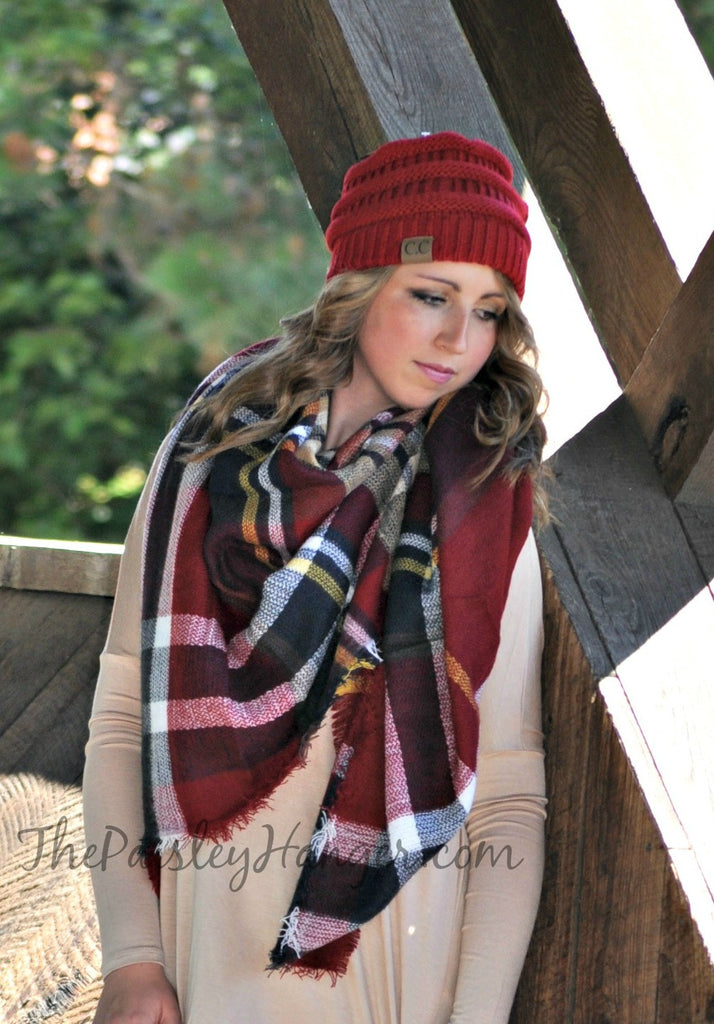 Oversized Blanket Scarf- Burgundy