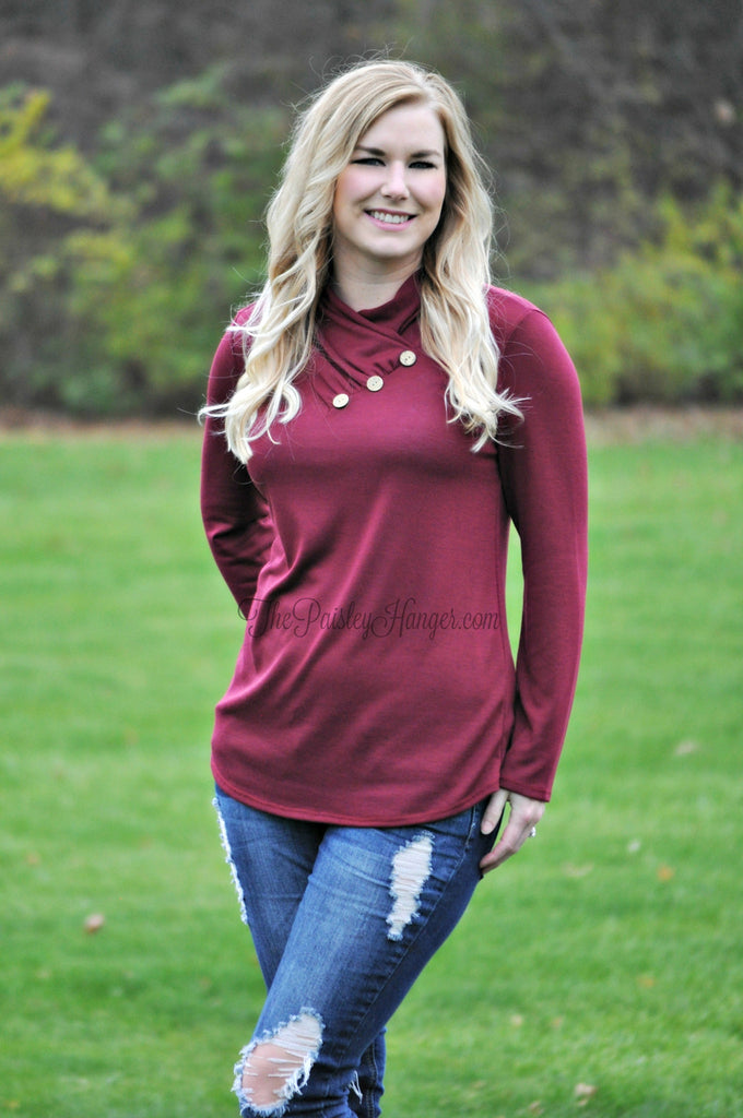 Her Side Button Tunic- Burgundy