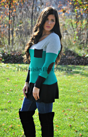 Green Colorblock Tunic