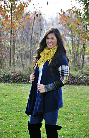 Navy Patchwork Cardigan