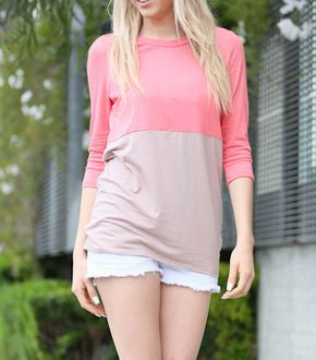 Coral Colorblock Tunic