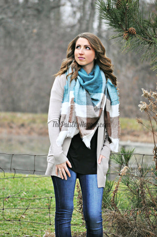 Blanket Scarf- Teal, Grey & Brown