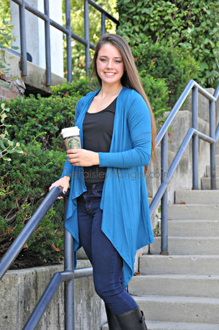 Teal Hooded Cardigan