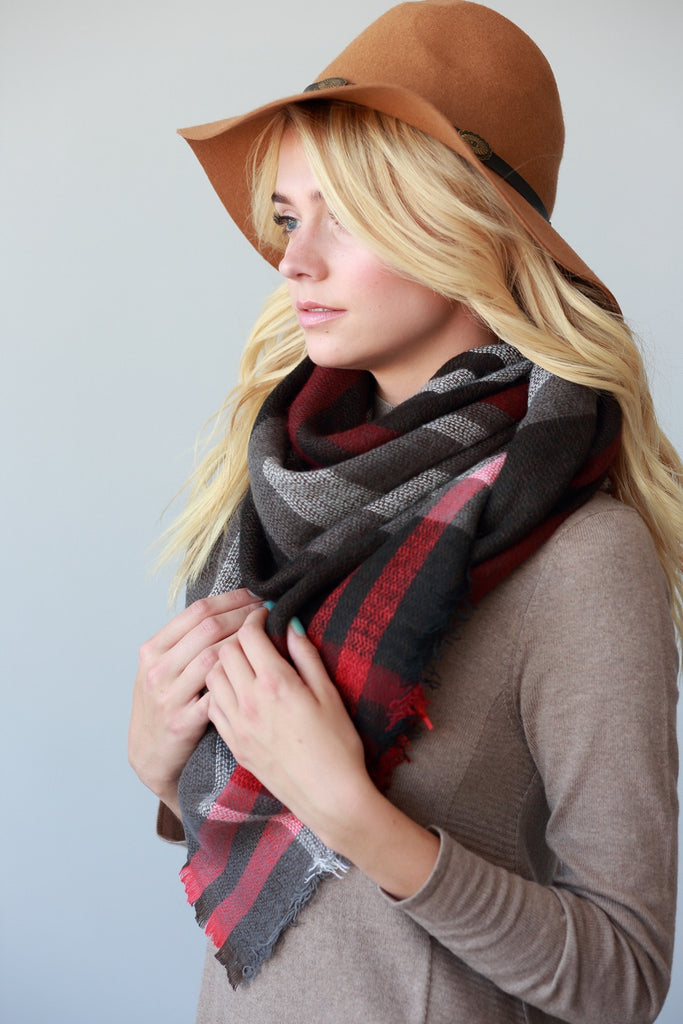 Oversized Blanket Scarf- Black