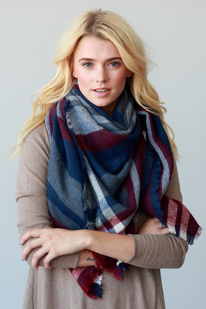 Oversized Blanket Scarf- Navy