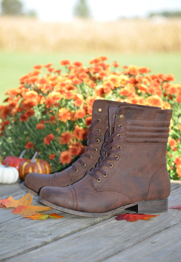 Fall For You Combat Boots- Brown
