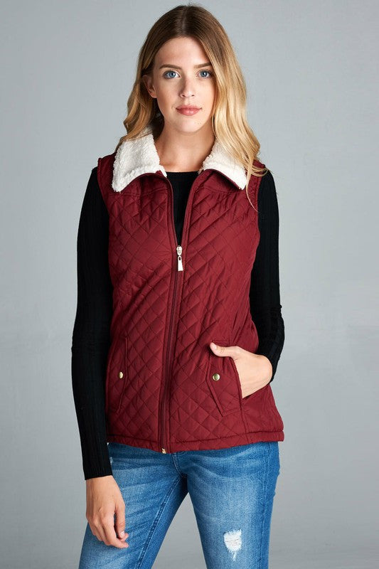 Quilted Vest- Burgundy