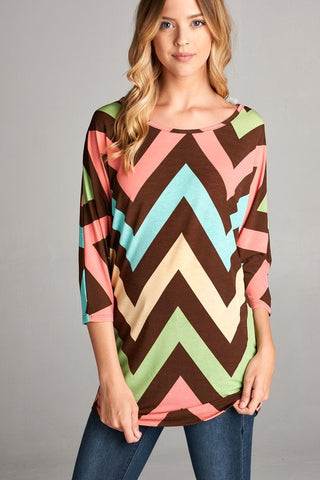 Add Some Fun Chevron- Coral/Brown
