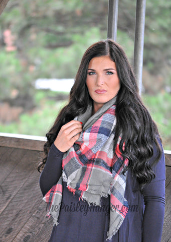 Oversized Blanket Scarf- Coral/Gray/Navy