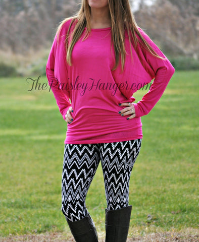 Fuchsia Dolman Sleeve Top