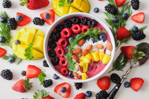 Superfoods such as berries and almonds arranged on a great looking meal.