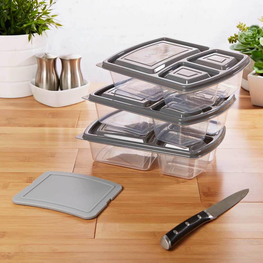 Jaxx Meal Prep Divided Container Set with Snap-In Cutting Board (Set of 3) - Plastic Container - Fit & Fresh