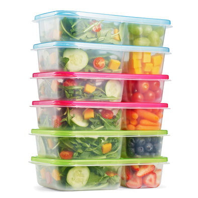 Meal Prep Containers with Multicolored Lids (Set of 6) - Meal Prep - Fit & Fresh