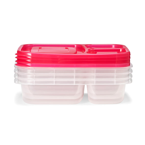 Meal Prep Containers with Red Lids (Set of 4) - Meal Prep - Fit & Fresh