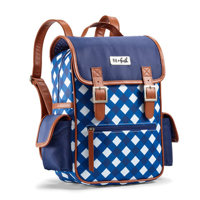 Classic Navy Gingham Mini Backpack -  - Fit & Fresh