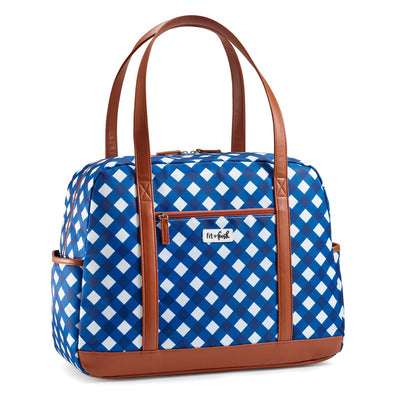 Classic Navy Gingham Carry On Travel Tote Bag -  - Fit & Fresh