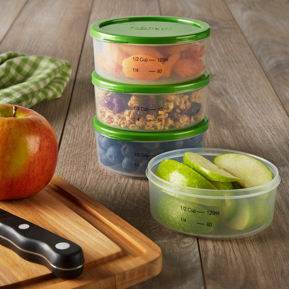 Smart Portion Half Cup Chilled Containers (Set of 4) - Plastic Container - Fit & Fresh
