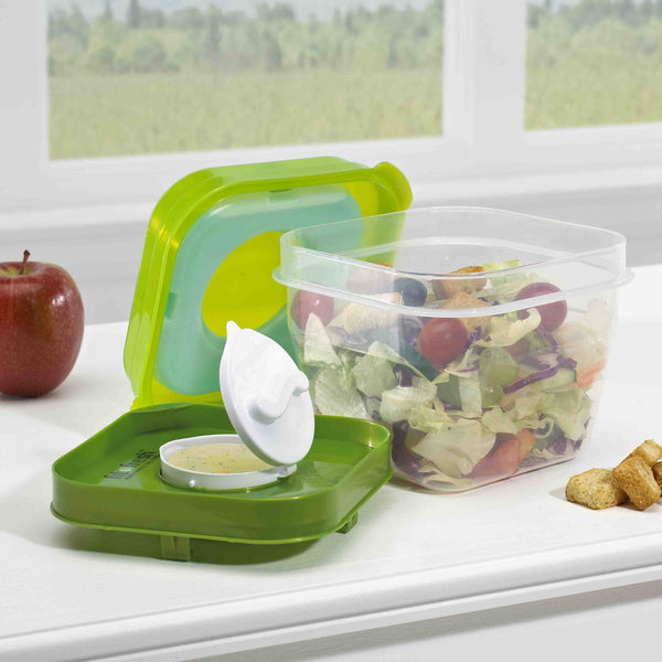 Salad Shaker Container with Removable Ice Pack and Dressing Dispenser - Plastic Container - Fit & Fresh