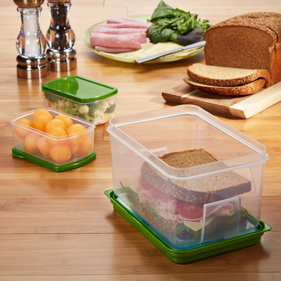 Lunch on the Go Container Set with Removable Ice Pack - Plastic Container - Fit & Fresh