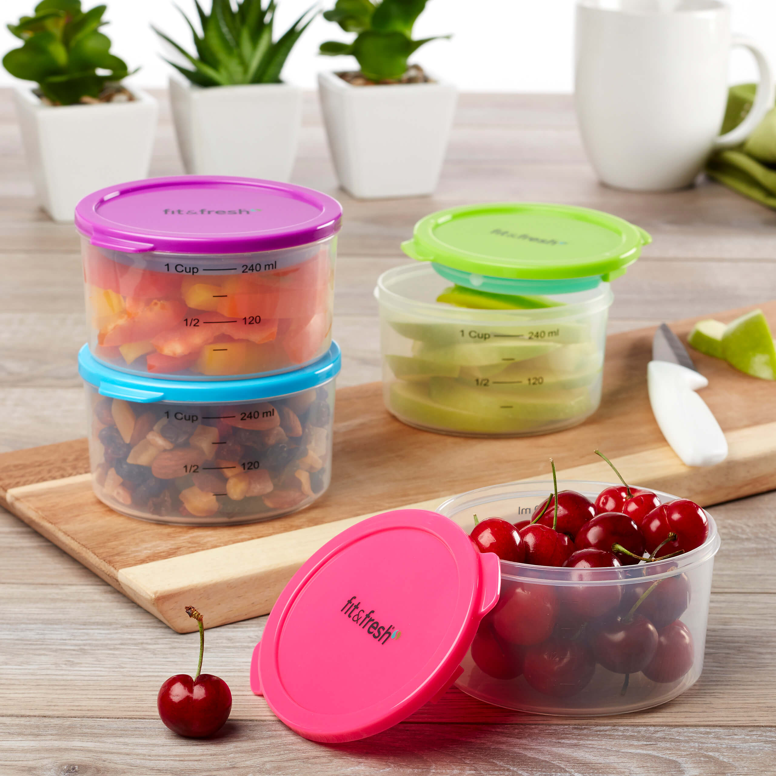 Fit Fresh 1 Cup Chilled Portion Control Containers with Ice Packs