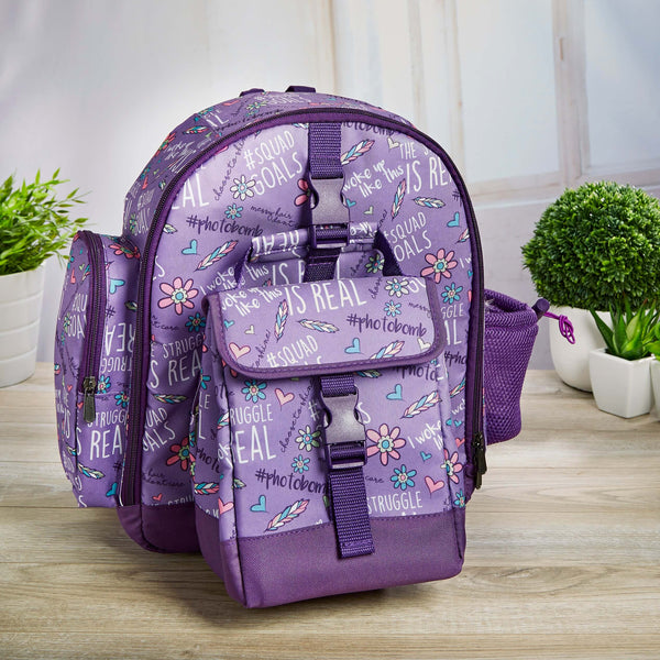 Lola Kids' School Backpack & Matching Insulated Lunch Bag (Purple Girl Talk) - Kids' Bag - Fit & Fresh