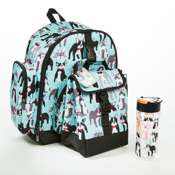 Lola Kids' School Backpack & Matching Insulated Lunch Bag (Pug Life) - Kids' Bag Kit - Fit & Fresh