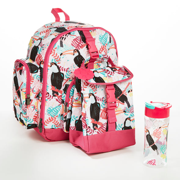 Lola Kids' School Backpack & Matching Insulated Lunch Bag (Pink Toucan) - Kids' Bag Kit - Fit & Fresh
