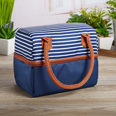 Ivy Dual Compartment Insulated Lunch Bag (Navy Nautical Stripe) - Ladies' Bag - Fit & Fresh