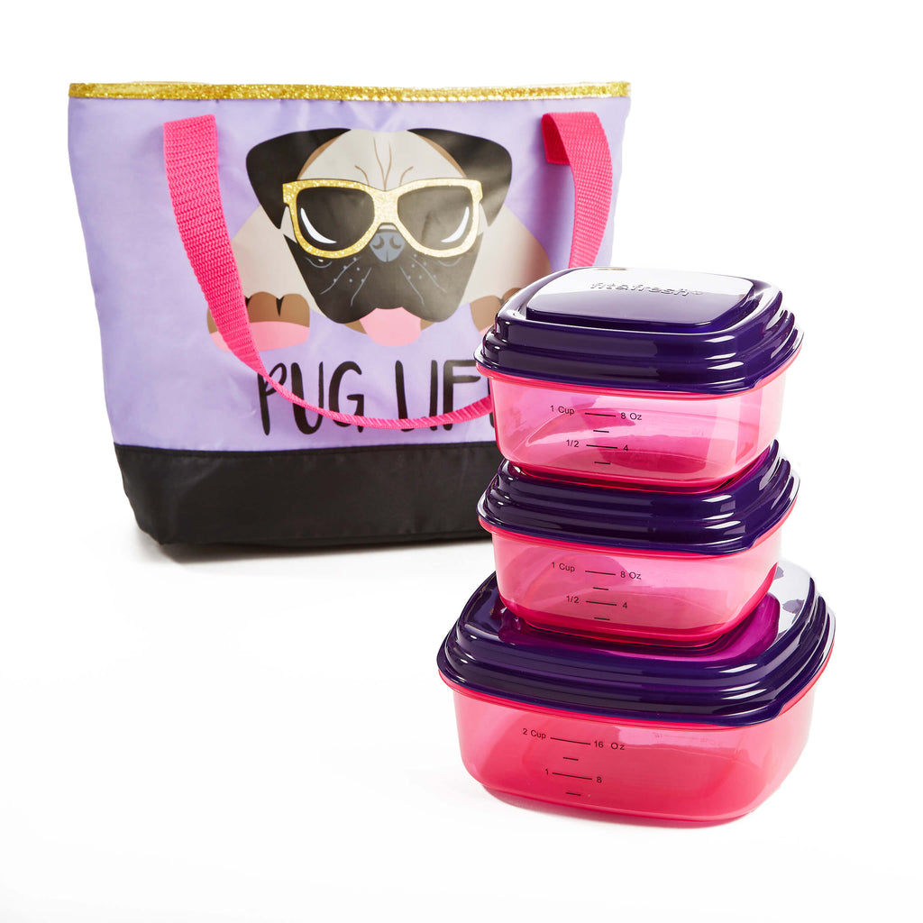 Hadley Lunch Bag Kit with Container Set for Kids (Purple Pug Life) - Kids' Bag Kit - Fit & Fresh