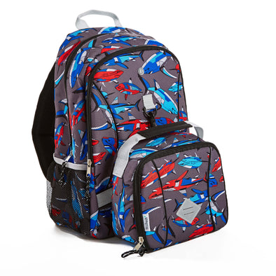 Shark Bite Kid's Backpack with Matching Lunch Bag - Kids' Bag - Fit & Fresh