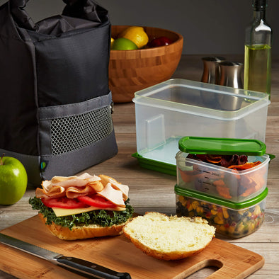 Sporty Insulated Lunch Bag Set with Lunch on the Go Containers - Mens' Bag - Fit & Fresh