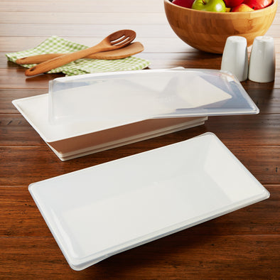 Freezable Serving Platters with Lids (Set of 2) - Chilled Serveware Entertaining - Fit & Fresh