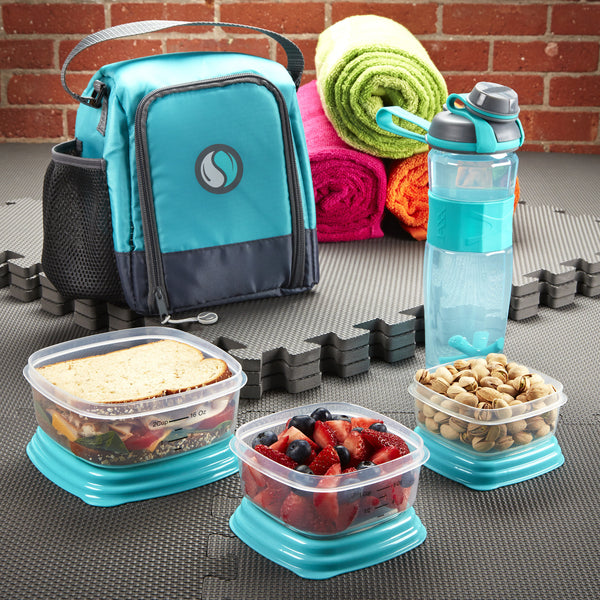 Meal Prep Starter Kit with Portion Control Containers and Jaxx Active Shaker Bottle (Teal)