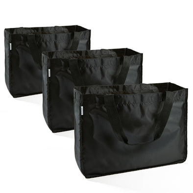 Grocery Totes with Handles, Set of 3 - Grocery Bags - Fit & Fresh